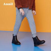 【3件3折:120】安奈儿童装女童冬季新款保暖收脚运动棉裤