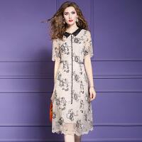 蕾丝连衣裙女2019春夏新款娃娃领气质修身中长裙超仙的裙子 卡其色