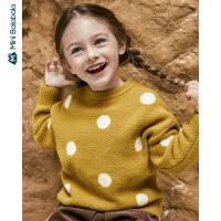 【限时1件6折 2件5折】迷你巴拉巴拉儿童毛衣女童宝宝针织波点上衣2019冬季新款宝宝毛衣