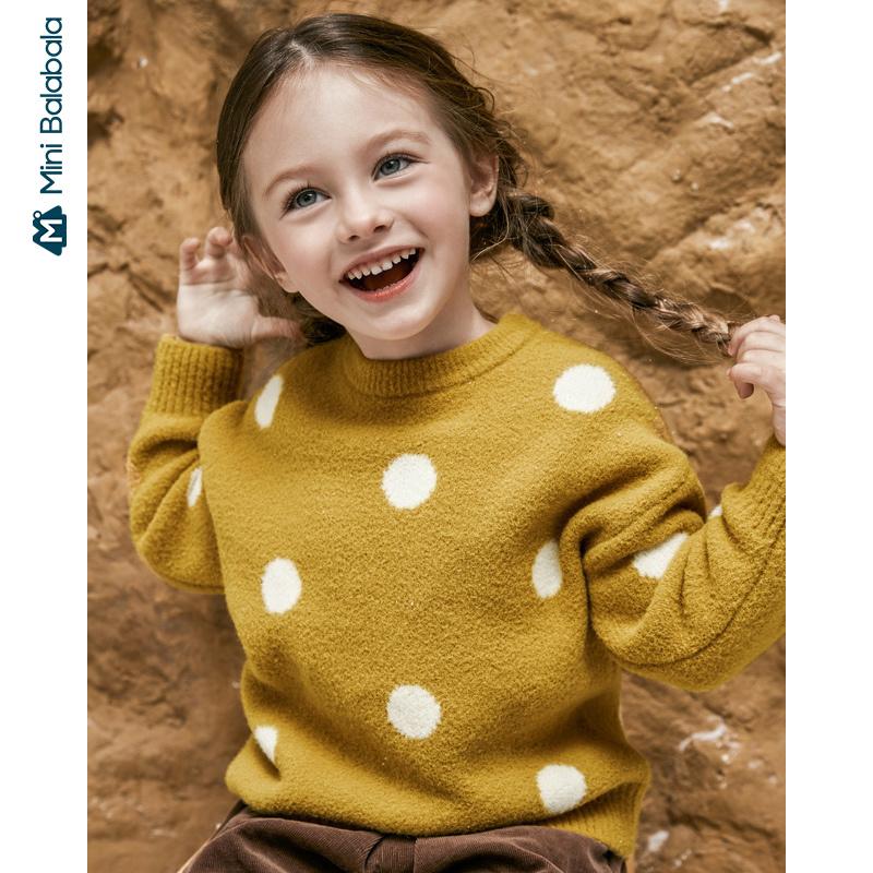 【周年庆 3折价:72】迷你巴拉巴拉儿童毛衣女童宝宝针织波点上衣冬季新款宝宝毛衣