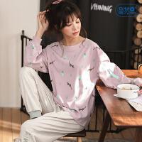 睡衣女春秋款可爱少女长袖家居服韩版卡通纯棉两件套装秋季可外穿