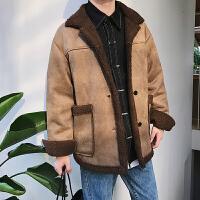 羊羔毛短款风衣男士冬季新款加厚棉大衣青年韩版潮流呢子外套