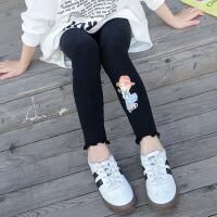 儿童打底裤 女童2021春秋女孩修身时尚印花中大童高弹舒适莱卡棉打底裤袜宝宝紧身裤子