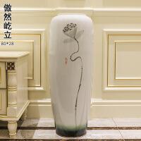 景德镇陶瓷落地大花瓶新中式客厅玄关摆件现代创意家居电视柜花插