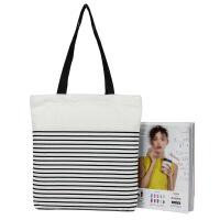 原创帆布单肩包 清新文艺手提购物袋韩版学生布袋 FB217黑色