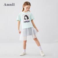 【2件3折价:95.7】安奈儿童装女童半身裙夏2020新款女孩牛仔半身裙子学生网纱拼接裙