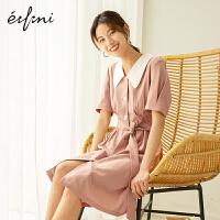 伊芙丽连衣裙女2020年新款夏季法式赫本风桔梗初恋裙可甜可盐裙子