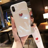 新款苹果6plus手机壳女爱心iphoneX硅胶套潮牌全包防摔7挂绳8韩国