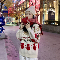 圣诞超火毛衣!限时秒杀100件!2019秋冬新款韩版慵懒风宽松百搭针织衫毛衣