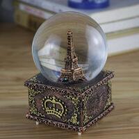圣诞礼品欧式埃菲尔铁塔八音盒生日礼物女生女童水晶球音乐盒女孩