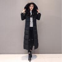 羽绒服女白鸭绒中长款2019韩版修身显瘦加厚保暖时尚外套 S 80-100斤
