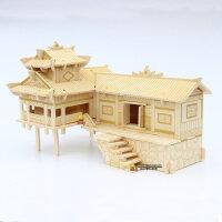 木质成人3d立体拼图积木我的世界玩具模型 木制普通拼图木头房子