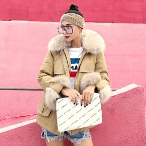 RANJU然聚2018秋季女装新品新款可拆卸大毛领收腰系带时尚棉服女