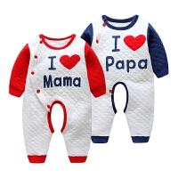 婴儿连体衣秋冬0-6个月保暖宝宝薄棉棉衣服秋哈衣