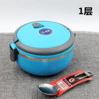 时尚圆形保温饭盒单层双层三层餐盒彩色提锅食品不锈钢食盒