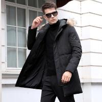 连帽带毛领中长款羽绒服男士冬季外套