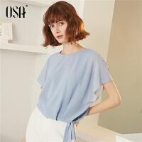 【过年3折价:83.4】OSA欧莎2019新款夏雪纺衫女短袖很仙的上衣显瘦洋气遮肚子小衫