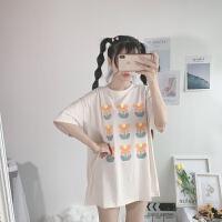 洛丽塔Lolita夏季韩版花朵印花短袖T恤+牛油果绿格子背带裙套装女 均码