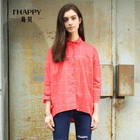 【2件5折】ihappy/海贝纯色格子廓形长袖衬衫