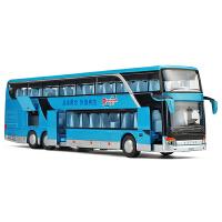 声光回力儿童玩具车公交车大巴模型仿真双层商务巴士合金车模