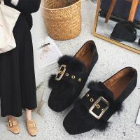 豆豆鞋女冬新款韩版百搭女鞋秋毛毛鞋外穿平底鞋女加绒单鞋女