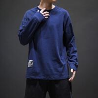 秋季纯色休闲长袖T恤男士大码韩版宽松圆领体恤潮流学生潮牌上衣