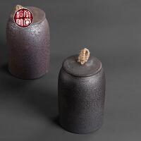 茶叶罐陶瓷罐子复古创意密封直柱型储物罐存茶罐