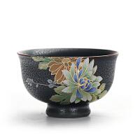 功夫茶具品茗杯窑变扒花陶瓷大号普洱茶杯个人杯灯盏杯单杯