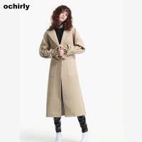 [9月12日3件7折到手价:273元]ochirly欧时力新女装纯色翻领系带长款风衣外套1JH3057570