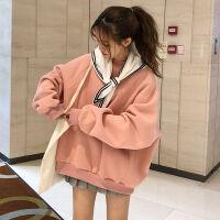 早秋薄款韩版BF风宽松学院风披肩加绒套头卫衣学生上衣外套女冬潮 S 建议80-100斤