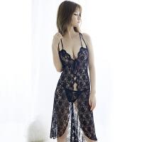 情趣内衣女性感诱惑睡衣三点式透明蕾丝网衣长裙制服激情套装血滴子