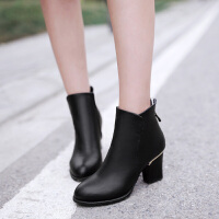 彼艾2017秋冬季女靴子短靴潮英伦风马丁靴粗跟裸靴短靴女靴子