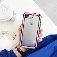 简约潮壳6s苹果x手机壳iPhone7/8plus潮男女款全包防摔新款韩国 6/6s 双色透明 粉色