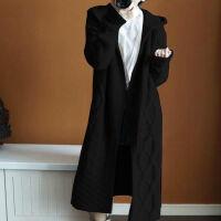 秋冬女毛衣连帽针织开衫长款大衣针织衫外套披肩长袖麻花大衣 均码-建议80-180斤穿着