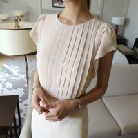 圆领修身连衣裙女装2019夏季新款气质OL纯色短袖中长款裙子 杏色