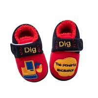 儿童拖鞋冬季室内宝宝鞋包头fang滑幼儿家居棉鞋包跟软底1-3岁