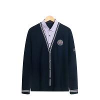 假两件针织衫毛衣剪标男装男长袖男士宽松薄款套头衬衫领v领秋款