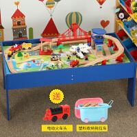 儿童木质小火车电动轨道套装游戏桌玩具 兼容托马斯火车BRIO定制 官方标配