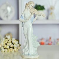 工艺品摆件家居饰品景德镇陶瓷器摆设拉小提琴少女像 图片色