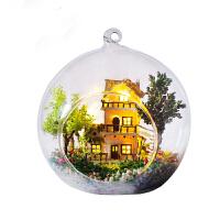 diy小屋 玻璃球微景观手工制作房子模型生日礼物送女友情人节礼物 主图色