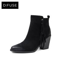 D:Fuse/迪芙斯冬商场同款牛反绒高跟方头女短靴DF74118063