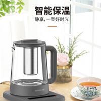九阳(Joyoung) 高硼硅玻璃 304不锈钢茶篮办公室小型煮茶器养生壶深空灰色 K15-D11