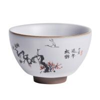 景德镇手绘品茗杯中国风家用主人杯个人杯开片汝窑冰裂釉禅意茶杯