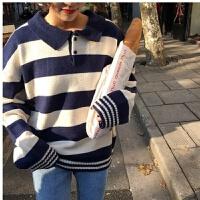 秋冬韩版条纹polo领毛衣女学生长袖宽松百搭显瘦打底针织衫潮