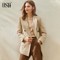 【3折折后价:269元】OSA欧莎气质毛呢西装外套女2021新款春秋季小个子短款千鸟格呢子大衣