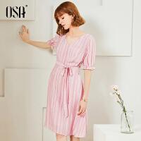 【2.5折到手价:186】OSA欧莎雪纺连衣裙2019新款夏气质粉色v领裙子女收腰显瘦中长款