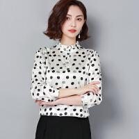 真丝上衣女2019春装新款长袖立领印花桑蚕丝衬衫