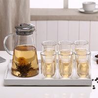 凉水壶水杯套装创意冷水壶茶具水杯具套装防爆耐热水壶 图片色