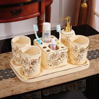 欧式洗漱套装陶瓷卫浴五件套浴室用品卫生间刷牙杯托盘漱口杯套装