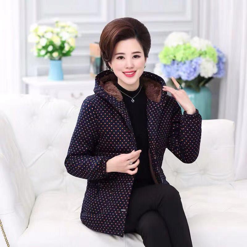 中老年女装妈妈装冬季棉衣外套40-50岁加绒加厚棉袄老太太女  XL 建议80-105斤